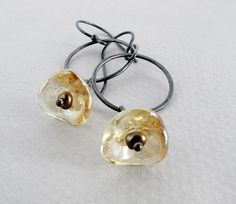 """pearl glass sterling silver dangle earrings, Czech glass trumpet flowers and oxidized sterling silver hoops """"Mellow Monday"""""""