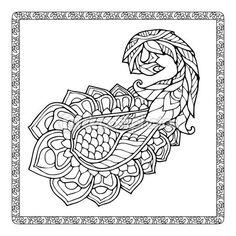 Elemento asiático patrón de Paisley — Vector de stock