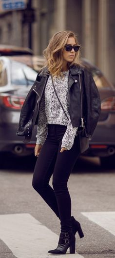 This outfit is stylish, but still has that rough edge going for it