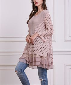 Take a look at this Simply Couture Pink Contrast-Knit Layered Tunic today!