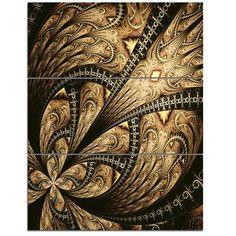 DesignArt Symmetrical Large Brown Fractal Flower - 3 Piece Graphic Art on Wrapped Canvas Set