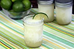 Make-Ahead Frozen Margaritas - blended, frozen in mason jars, ready to serve