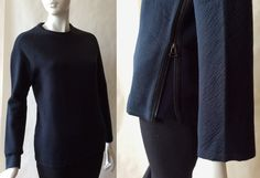 Lanvin pullover textured minimalist knit top, darkest blue / black, with long raglan sleeves and zip side, women's small / medium by afterglowvintage on Etsy Modern Tops, European Fashion, European Style, Jeanne Lanvin, Top Stitching, Zip Ups, Dark Blue, Vintage Outfits, Black Jeans