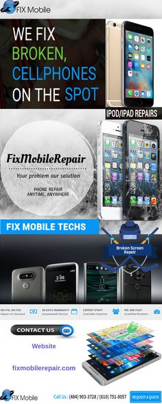 Broken screens, water damage, jammed home button, battery not charging, camera not working, or distorted sound; no matter the problem fixmobilerepair.com