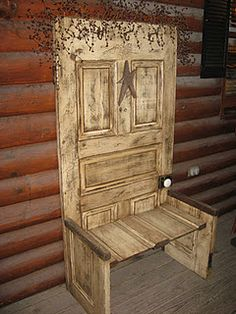 vintage door into a bench What a cool way to upcycle