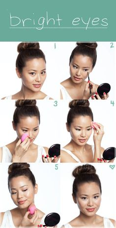 Concealer under eyes, then highlight cheekbones and above eyebrows, darken under jawline and along hairline