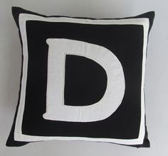 ON SALE Letter D Black and off white monogram pillow cover 18 inch