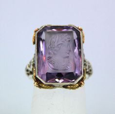 Art Deco 14 kt White Gold Filigree Carved Amethyst Cameo Ring