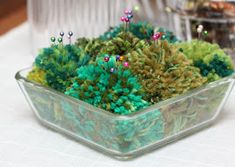 pompom place with pins Plants, Sewing, Dressmaking, Couture, Fabric Sewing, Planters, Stitching, Full Sew In, Plant