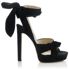 Midnight Blue Suede Platform Sandals VIXEN 130 (2.795 BRL) ❤ liked on Polyvore featuring shoes, sandals, heels, suede leather shoes, suede sandals, heel platform shoes, platform shoes and jimmy choo sandals