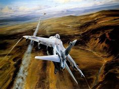 British firing a missile at an Argentinian jet, Falklands War