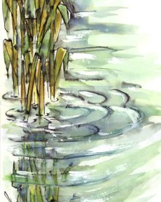 Reeds ca 1992. #painting #paintings #watercolor #penandink #water #reeds #acrylic