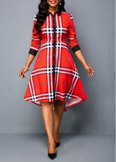 Rosewe Women Dress Red Plaid Long Sleeve Holiday High Low Dip Hem Long Sleeve Button Up Dress Women's Fashion Dresses, Sexy Dresses, Cute Dresses, Dresses For Sale, Dresses With Sleeves, Sleeve Dresses, Long Dresses, Dress Long, Pink High Low Dress