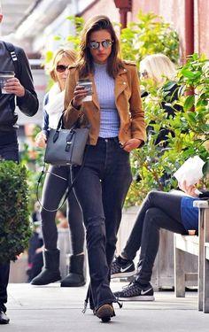 Alessandra Ambrosio wearing Michael Kors Gracie Tote, Illesteva Milan III Mirrored Sunglasses and Cotton On Anna High Neck Tee