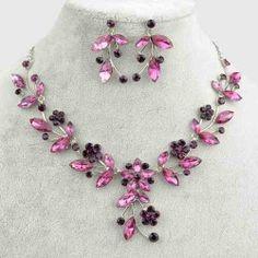Schmuckset Kette + Ohrringe Silber Blumen Blätter rosa Violett schwarz Neu