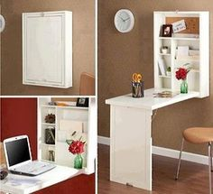 Clever idea for a small space: Cabinet that turns into a small table or desk!