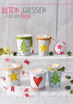 Concrete pouring is in line with the trend. We show you the basics and make a . - Concrete pouring is in line with the trend. Here we show you the basics and make a Christmas candle - Concrete Crafts, Concrete Projects, Wood Crafts, Diy And Crafts, Diy Projects, Decor Crafts, Noel Christmas, Christmas Candles, Christmas Crafts