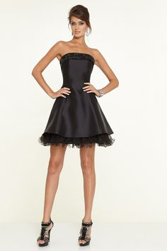 2015 Strapless Cocktail Dress A Line Short/Mini With Crystal Beading Satin And Tulle Lace Up USD 129.99 BAPFLEB56J - BallProm.com