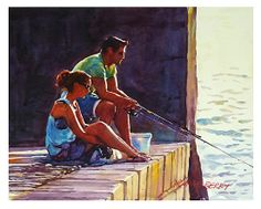"""Shopping or fishing by Graham Berry Watercolor ~ 12"""" x 15"""""""