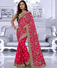 Buy Magenta Faux Georgette Saree With Blouse 75537 with blouse online at lowest…