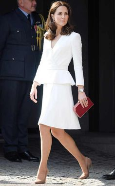 A Vision in White from Prince William and Kate Middleton's Royal Tour of Poland and Germany The Duchess of Cambridge arrives at the Warsaw Rising Museum.