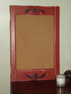Repurposed Shutter Frame Corkboard - Burnt Red w/ Black Design
