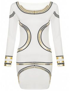 Celebrity Inspired Gold Long Sleeve Body Dress Found on MyFameShow.com