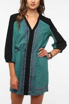 $59 Ecote Silky Printed Bianca Shirtdress  #UrbanOutfitters