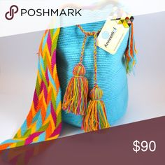 ORIGINAL Colombian Wayuu Bag UNIQUE Woven bag and braided strap. 100% cotton. Summer and Bohemian bag. Trending. HANDMADE. Anncestral Bags Shoulder Bags