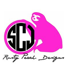 Sloth Vinyl Decal, Your Choice of Color, Circle Monogram, Sloths, Sloth Decal, Sloth Lover, Monogram Gifts, For Her. by RustyPeachDesigns on Etsy
