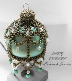Chainmaille Christmas ornament Green Glass Ball by LadyIs.deviantart.com on @deviantART