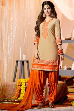 1e2e6861b68 Cream Orange Simple Casual Wear Panjabi Style Patiyala Suits With  Embroidary Patiala House Vol 55 Kessi