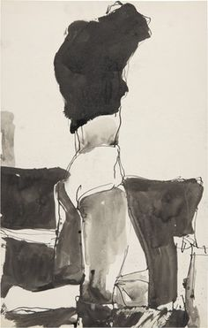 kunst: Richard Diebenkorn (US 1922 - Figure changing clothes (ink) Figure Painting, Figure Drawing, Painting & Drawing, Painting Abstract, Bay Area Figurative Movement, Figurative Kunst, Richard Diebenkorn, Illustration Art, Illustrations