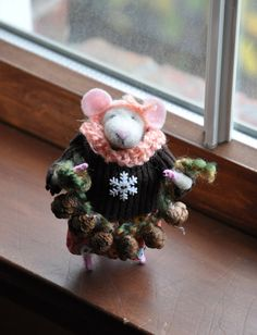 Meet SweetPea the little mouse. www.etsy.com shop name creationsfrompassion