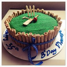 Chocolate cake with vanilla whipped frosting covered in green sugar. Cricket Birthday Cake, Cricket Theme Cake, 12th Birthday Cake, Cake Designs For Boy, Sports Themed Cakes, Cake For Husband, Whipped Frosting, Icing Tips, Pastry Cake