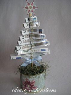 Geld Tannenbäumchen zu  Weihnachten