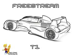 freestream formula one car coloring page side view at yescoloring freestream is one