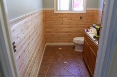 Lowes- cedar tongue n groove planks (for wainscotting) - use for shiplap in bathroom upstairs