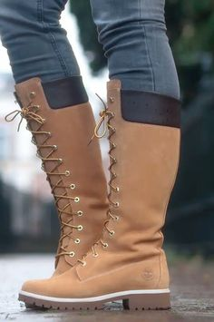 f2337f047 lace-up Timberland tall boots 14 inch outfit details
