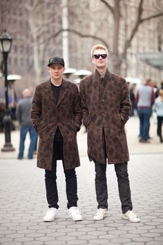 Street Style: Two Leopard-Camo Coats Are Better Than One: The Daily Details: Blog : Details  Simon Hogeman, Marcus Lindstrom,   Très Bien  Sweden  Welcome    Simon: Coat: Welcome Hat: New Era T-shirt: Carhartt Pants: Acne Shoes: Nike Marcus: Coat: Welcome Sunglasses: Triwa Jeans: Acne Shoes: Adidas