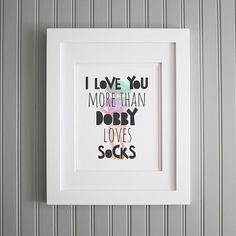 Looking for Valentine's Day gift ideas for a Harry Potter fan? Check out these sweet, romantic Harry Potter gifts, including this bookish wall art inspired by Dobby. Harry Potter Fiesta, Harry Potter Wall Art, Harry Potter Nursery, Dobby Harry Potter, Harry Potter Christmas Gifts, Harry Potter Gifts, Harry Potter Quotes, Cadeau Harry Potter, Great Valentines Day Gifts
