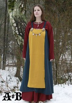 Viking Woman´s Apron Dress - blue / yellow - love the bright colors and if you go to the link they have a picture of what the blue looks like without the yellow