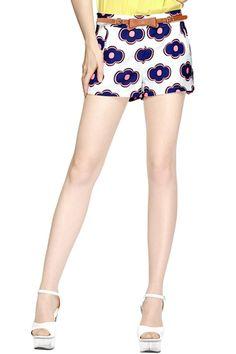 #ROMWE Floral Print Rose Shorts