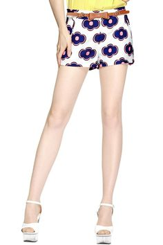 #ROMWE Floral Print Rose Shorts