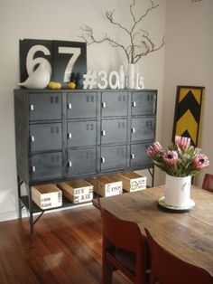 Refurbished lockers make a lovely sideboard and signage decor brings the feel together. Refurbished lockers make a lovely sideboard and signage decor brings the feel together. Industrial Lockers, Industrial Design Furniture, Vintage Industrial Furniture, Metal Lockers, Industrial Office, Vintage Lockers, Home Office Decor, Home Decor, Office Ideas