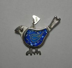 Bluebird of happiness pendant in fired glass vitreous enamel and sterling silver by Sasha Leon Sculpture & Jewellery at www.slsj.co.za
