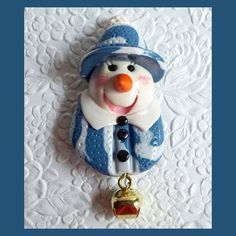 Christmas Snowman Magnet Blue by RFColorfulCreations on Etsy, $5.00