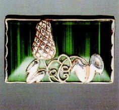 Josef Hoffmann. Brooch. Silver and malachite.