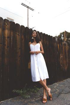 Minimalist Outfits Minimal Summer Outfits White Midi Dress White Tank Dress Slides Lob Hair Cuts Straight Hair Styles Basket Bag Tassel Earrings