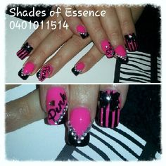hot pink acrylic nails i did for a client for the pink concert!:) nail bling